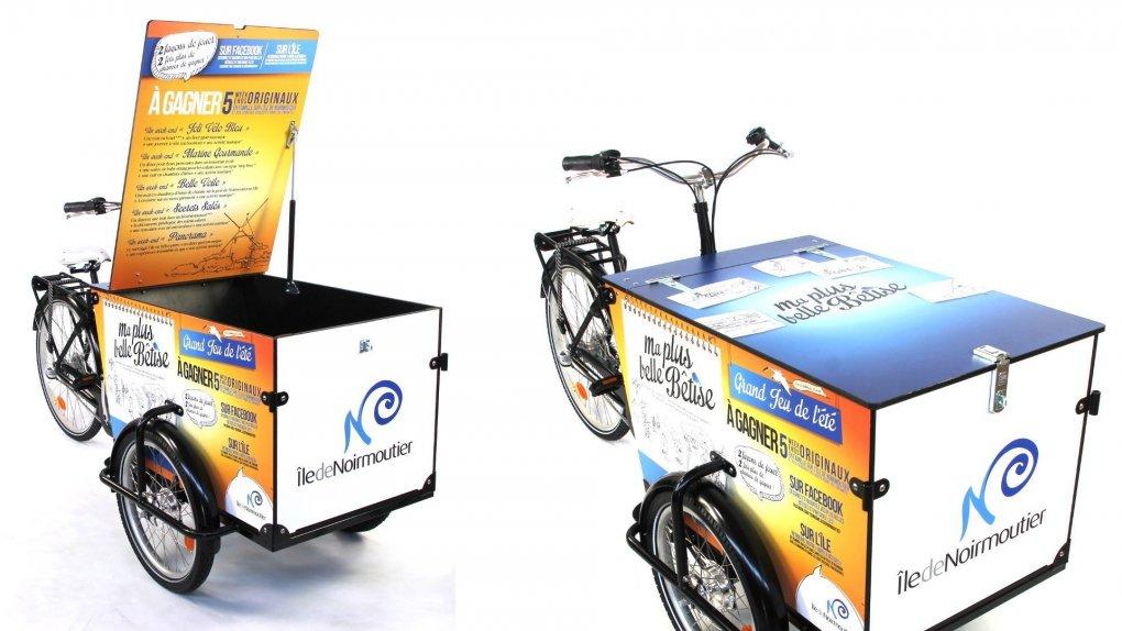 Triporteur Publicité électrique Bimoteur avec option pneu crème ballons