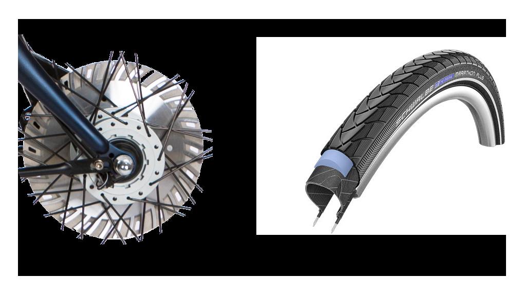 Pneus anti-crevaison Marathon Plus et frein ventilé 50% plus puissant