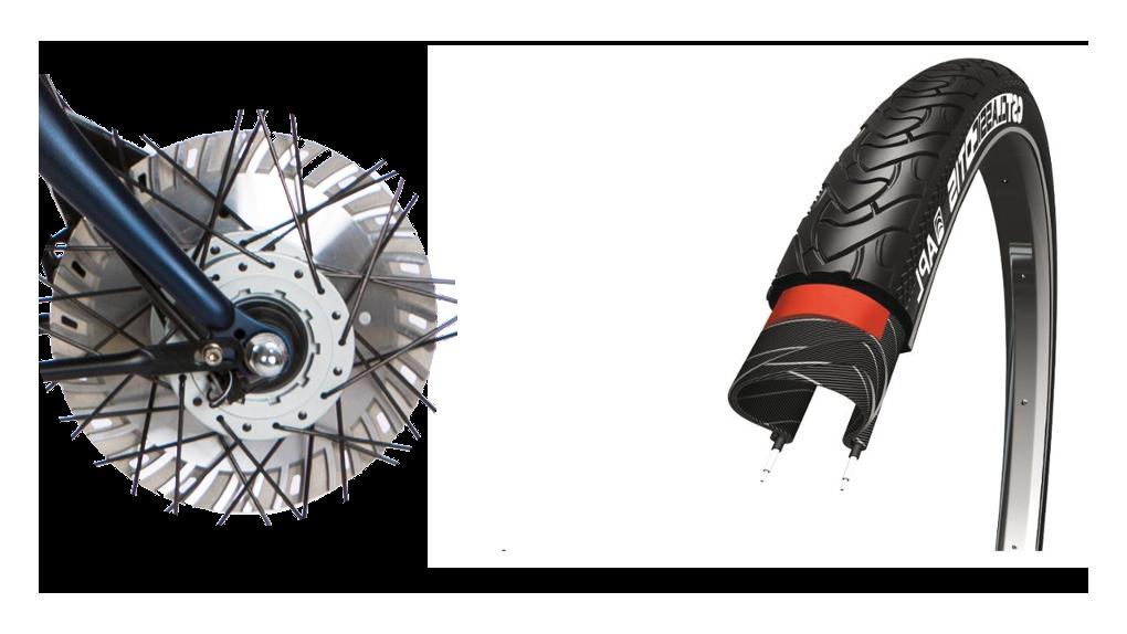 Pneus CST renforcé, frein ventilé 50% plus puissant