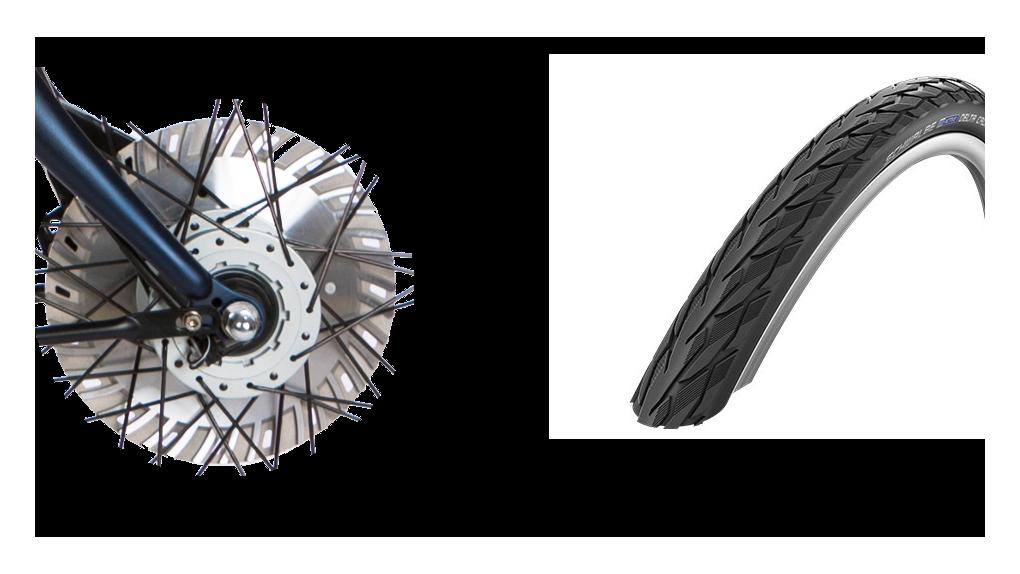 Pneus Delta Cruiser noir, frein ventilé 50% plus puissant